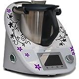 Sticker/ Autocollant pour Vorwerk Thermomix TM5 Vrilles Fleurs noir violet