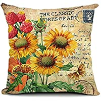 FreshZone Vintage Square Home Decorative Throw Pillow...