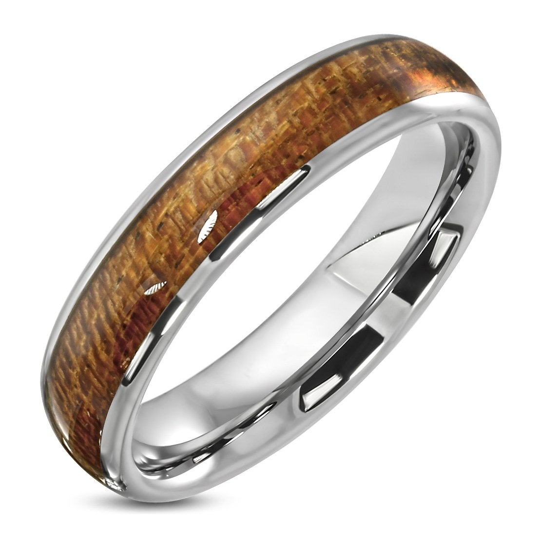 Tungsten Carbide Comfort Fit Half-Round Band Ring with Wood Inlay