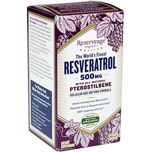 Reserveage - Resveratrol with Pterostilbene 500mg, Cellular Age-Defying Formula, 60 Capsule
