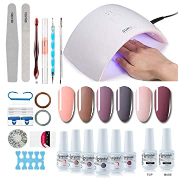 Gel Nail Polish Starter Kit 6 Colors Gel Polish Set Base Top Coat 36w Led Nail Dryer Lamp With Full Diy Gel Manicure Nail Tools By Vishine 8ml 12