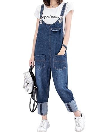 eda2ccfedb2a Innifer Women s Plus Size Denim Bib Jumpsuit Pants Loose Overall Jeans  Pockets