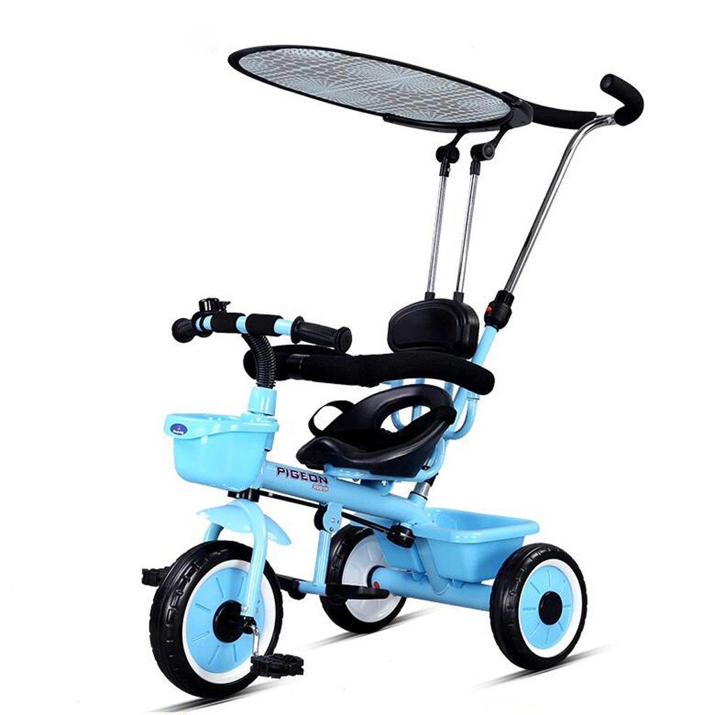子供の三輪車バイク1-5歳の赤ちゃん/子供の自転車トロリー、青/赤/白、72 * 91センチメートル ( Color : Blue ) B07C111FX8