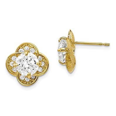 676e3381a 11.03mm 10k Tiara Collection Polished Cubic Zirconia Post Earrings - Higher  Gold Grade Than 9ct Gold: Amazon.co.uk: Jewellery