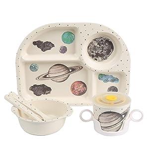 Shopwithgreen 5Pcs/Set Bamboo Fiber Children Board Food Plate Bowl Cup Spoon Fork Set Dishware Cartoon Tableware Dishwasher Safe Kids Healthy Mealtime (Planet)