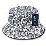 Paisley Bandana Print 100% Cotton Bucket Hat - WHITE - S-M