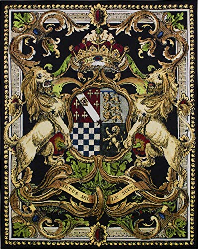 Crest on Black II by | Woven Tapestry Wall Art Hanging | Medieval Royal Heraldic Crest | 100% Cotton USA Size - Hanging Wall Art Rods Fine
