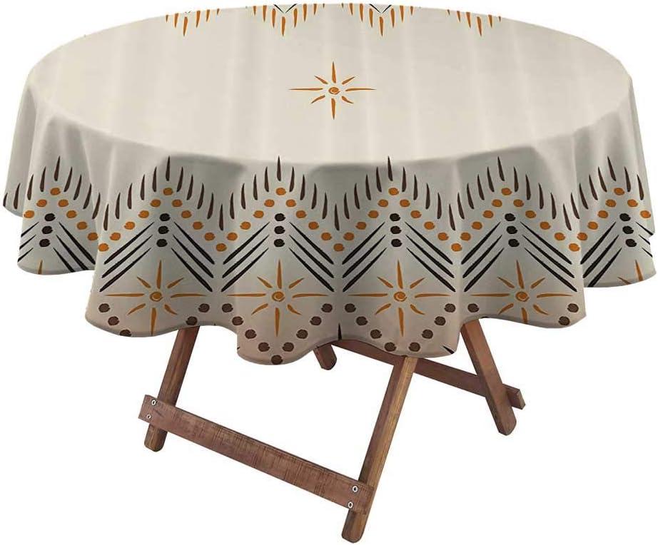 Table Clothes Round Geometric Decor Patio Tablecloth Vintage Primitive Aztec Native American Motif with Folk Art Effect Print 36