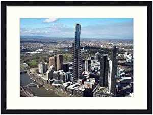 OiArt Wall Art Print Wood Framed Home Decor Picture Artwork(24x16 inch) - Buildings Eureka Tower Melbourne Skyscraper City