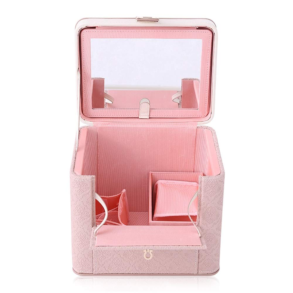 JUFU Cosmetic Storage Box Cosmetic Storage Box - PU Material, Portable, Large-Capacity Retro Wind Lock Closure, Living Room Bedroom Dressing Table Portable Makeup Artist Special Makeup Box Storage bo