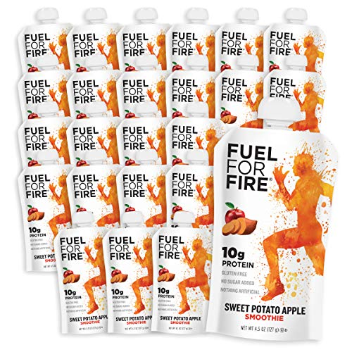 Fuel For Fire - Sweet Potato Apple (24 Pack) Fruit & Protein Smoothie Squeeze Pouch | Perfect for Workouts, Kids, Snacking - Gluten-Free, Soy-Free, Kosher (4.5 ounce pouches)