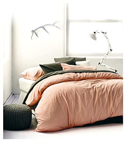 Amazon Com Eikei Washed Cotton Chambray Duvet Cover Solid Color