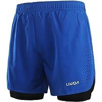 Lixada Hombres Pantalónes Cortos de Running 2-en-1, Pantalones Cortos de Atletismo, Pantalones Cortos de Fitness Maratón…