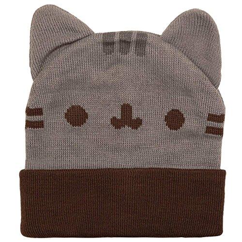 Pusheen Beanie Hat with Ears,Gray,Standard ()