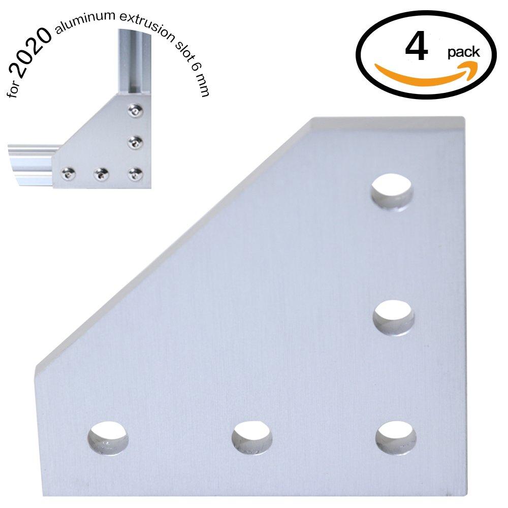 Boeray 4pcs 5-Hole 90 Degree L Shape Outside Joining Plate for 2020 Series Aluminum Profile, Joint Bracket Plate