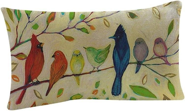 Fossrn Fundas Cojines 30 x 50 Vintage Flor Pájaro Hojas Fundas De Cojines para Sofa Jardin Cama Decoración del hogar Cuadrado Funda de Almohada (B): Amazon.es: Hogar