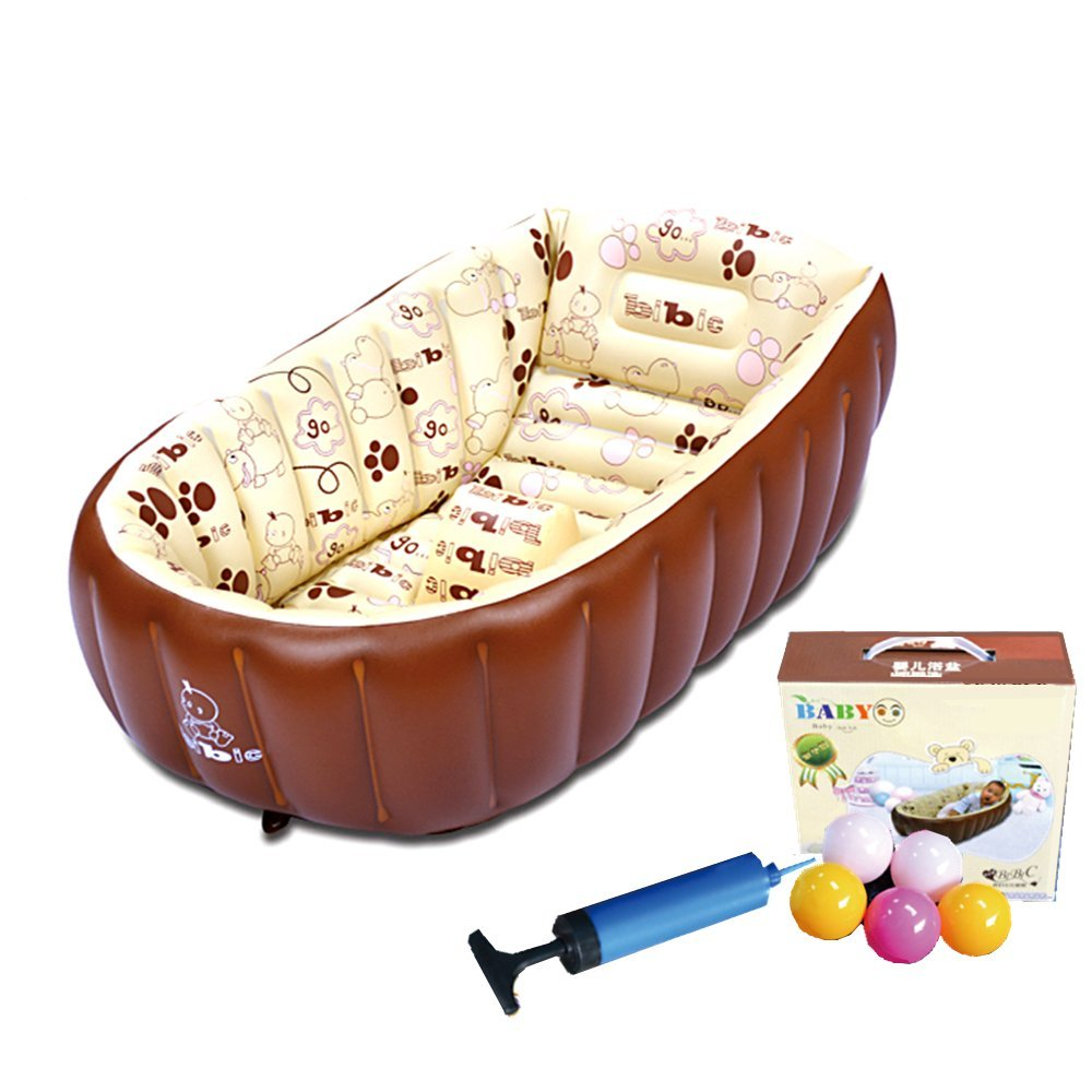 Baby Inflatable BathTub - Yaaas2U Children Anti-slippery Swimming Pool Toddler Foldable Travel Air Shower Basin Seat Baths Big Size(For 0-3 Years/ 90x55x30cm) + Air Pump + Repair Patch + 5 Bath Toy Balls (Beige)