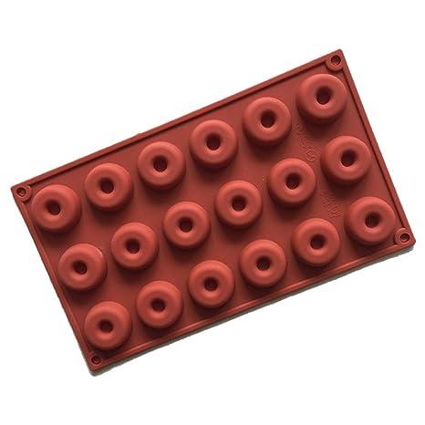 Conjunto de moldes de silicona de 18 Hobbies Moldes Muffin 3D Donut Round para pasteles,