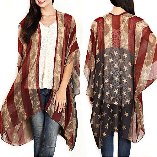 Patriotic American Distressed Cardigan Sleeveless