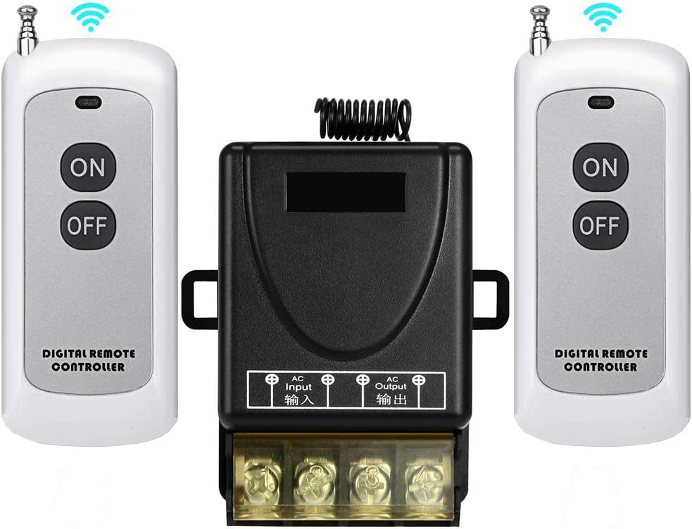 YETOR Remote Switch,110V/120V/240V /40A Relay Wireless RF Switch with 984FT Long Range for Household Appliances,Garage Door,Pump,Lights Ceiling and Electrical Equipment (Two remote controls 110V))