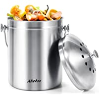 Abakoo Stainless Steel Compost Bin - Premium Rust-Resistant Grade 304 Stainless Steel Kitchen Composter - Includes 4 Charcoal Filter, Indoor Countertop Kitchen Recycling Bin Pail