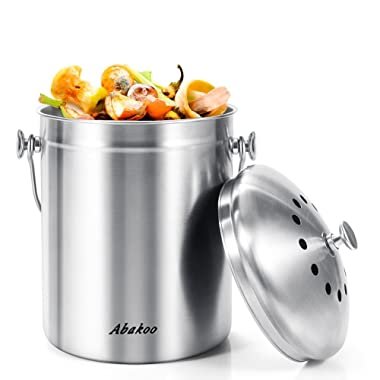 Abakoo Stainless Steel Compost Bin - 1.3 Gallon Premium Rust-Resistant Grade 304 Stainless Steel Kitchen Composter - Includes 4 Charcoal Filter, Indoor Countertop Kitchen Recycling Bin Pail