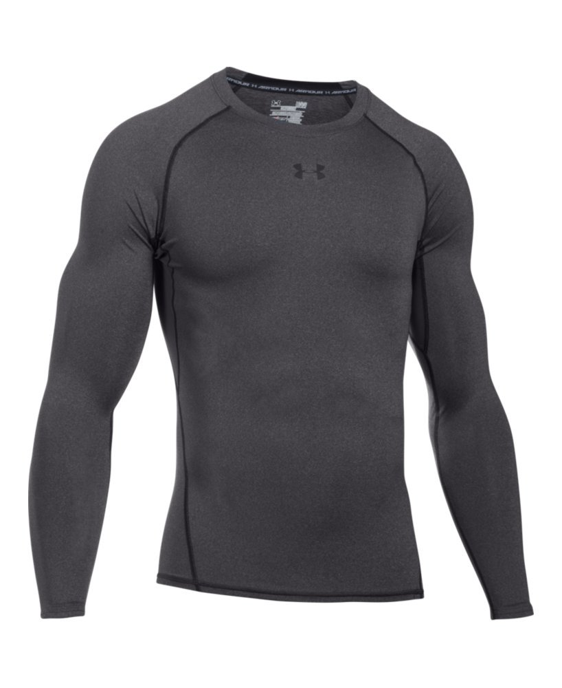 Under Armour Men's HeatGear Armour Long Sleeve Compression Shirt, Carbon Heather (090)/Black, Small by Under Armour (Image #4)