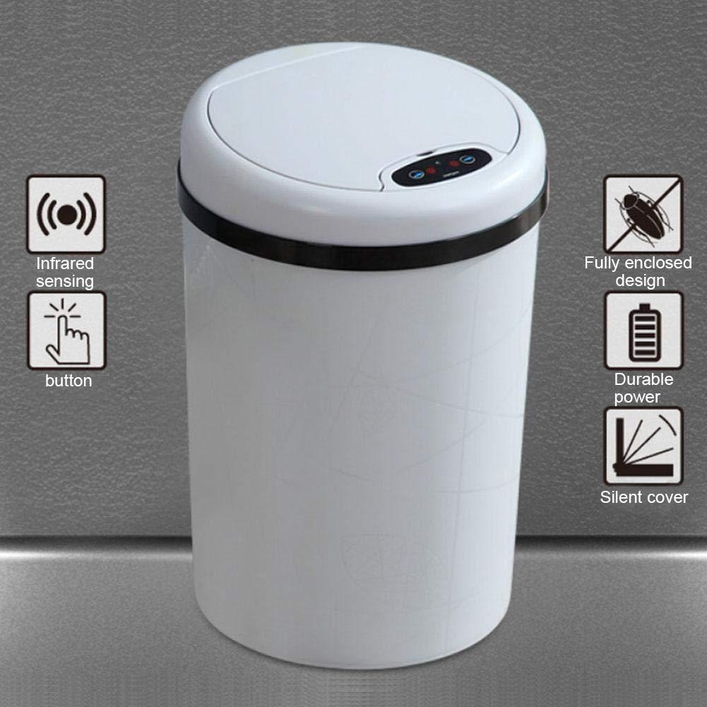 Poubelle de cuisine 12L /électrique enti/èrement automatique Garbage Bin intelligent Induction Flip Type Poubelle avec couvercle pour le salon Chambre /à coucher de cuisine et de salle de bain