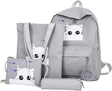 School Bags for Girls, Kids Backpack Built-in Handbag Inclined Shoulder Bag and Pen Bag, Elementary/Middle School, Unisex (Gray)