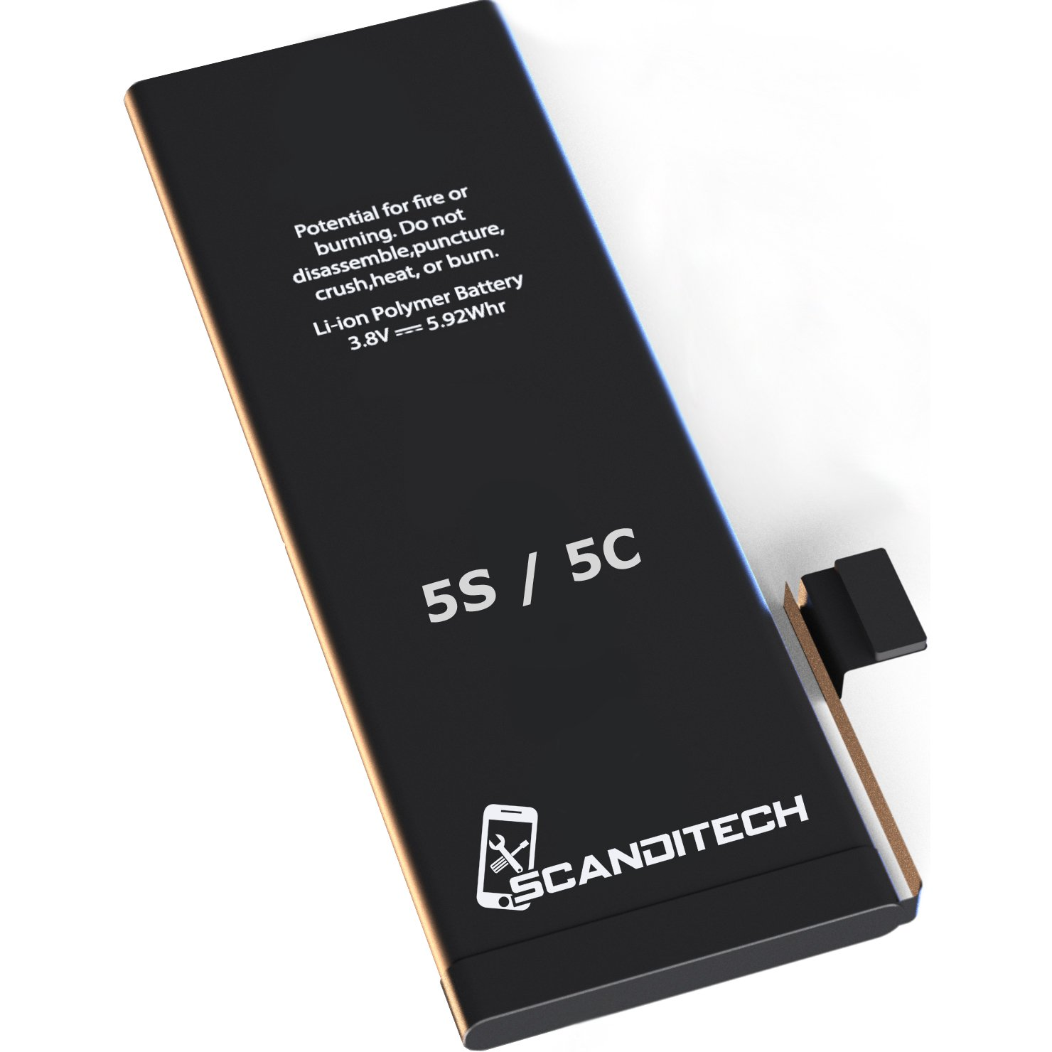 ScandiTech Battery Model iP5S-5C - with Adhesive & Instructions (no Tools) - New 1550 mAh 0 Cycle Replacement Battery - Repair Your Phone in 15 min - 1 Year Warranty