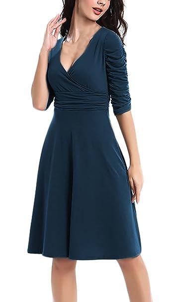 Mujer Vestidos De Noche La Rodilla Fiesta Moda Vestido Coctel Cortas Sencillos Especial Arm V Cuello Cintura Alta Línea A Vestido De Oscilación Prom Vestido ...
