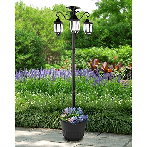 Outdoor Lamp Post With Planter in US - 3