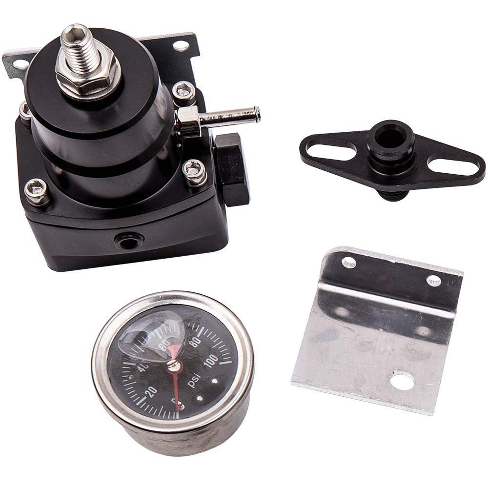 maXpeedingrods Universal Adjustable Fuel Pressure Regulator Gauge Kit /& AN 6 Fitting End Black