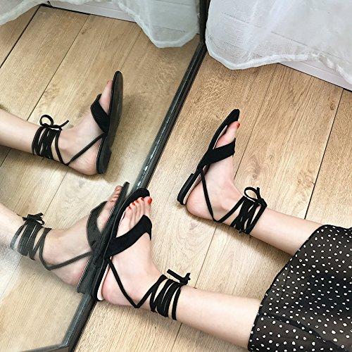 YMFIE Las Damas Verano Sandalias de Fondo Plano Simple Moda fusibles Antideslizante Calzado de Playa. black