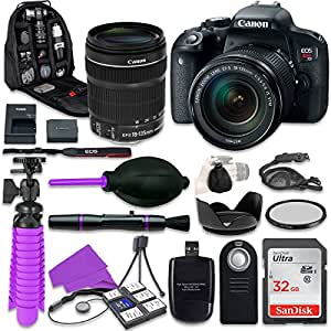 Canon T7i Rebel DSLR Camera with Canon 18-135mm IS STM Lens, 32GB Memory + Accessory Bundle