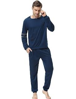 Aiboria Pijama Hombre Algodón Mangas Largas Set Suave Cómodo 2 Piezas Ropa de Dormir: Amazon.es: Ropa y accesorios
