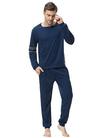 Aibrou Herren Schlafanzug Pyjama Baumwolle Lang Zweiteilig Nachtwäsche Set  Langarm Rundhals Blau S