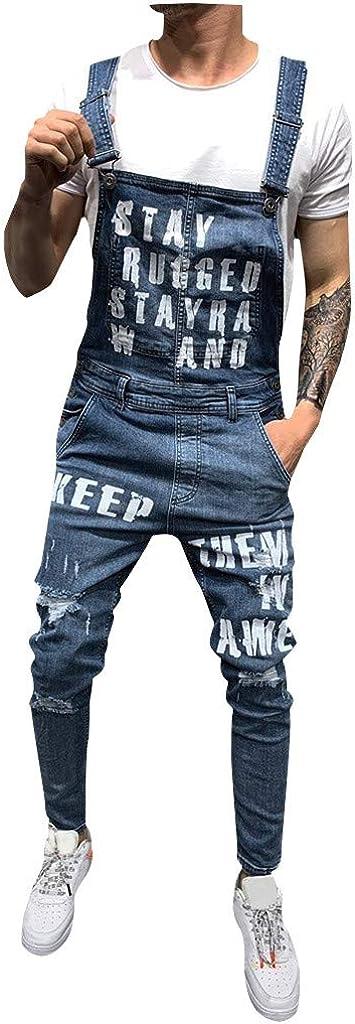 STRIR-Ropa Peto Corte Ajuste Holgado Pantal/ón Chandal Hombre Mono Vaquero Mezclilla Jumpsuit Casual Pantalones con Agujeros Suelto para Hombre Roto con Peto Tirante con Bolsillos