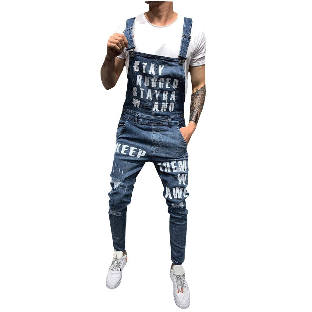 Men's Bib Overall | Mens Fashion Letter Print Ripped Distressed Slim Fit Tapered Denim Jumpsuit | Younger Ankle Length Skinny Jeans Pants with Pocket by Leadmall