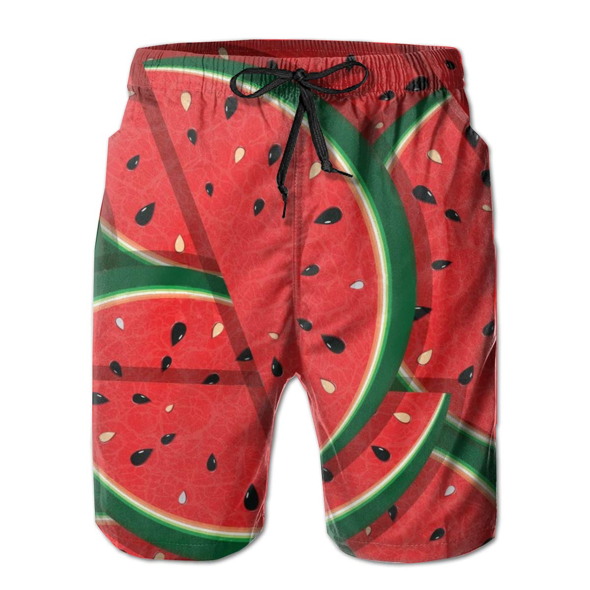 BONLOR Watermelon Puzzle Mens Quickly Drying Athletic Trunk Flat Front Beach Shorts