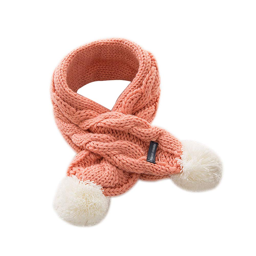 68cm*8.5cm Pink Hosaire 1x Kids Scarf Autumn and Winter Cute Twist Cross Children Scarf Knitted Warm Snood Soft Collar with Lovely Balls Great Gift