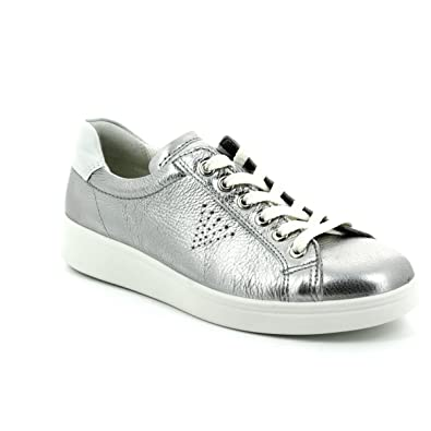 cb763ad8ed144 ECCO 218033-50521 Soft 4 Silver Womens Lacing Shoes: Amazon.co.uk: Shoes &  Bags