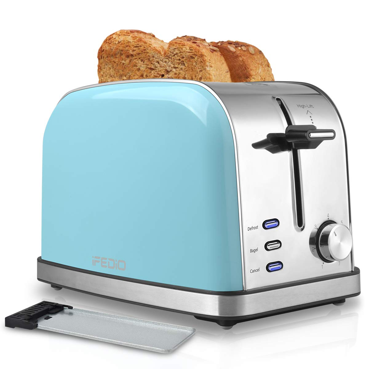 Toaster 2 Slice Toasters Best Rated Prime Extra Wide Slot Toaster with 7 Bread Shade Settings Bagel, Cancel, Defrost Function Removable Crumb Tray Stainless Steel Toaster Blue by iFedio