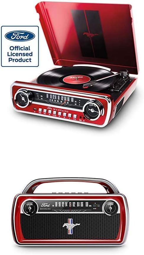 Ion Audio Mustang Lp Red Mustang Stereo Music Center Mit Schallplattenspieler Radio Usb Aux Eingang Retro Bluetooth Usb Fm Radio Mit Lautsprecher Im Vintage Stil Des Oldtimer Ford Mustang Amazon De