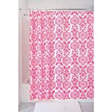 Hot Pink Shower Curtain Liner InterDesign Damask Fabric Shower Curtain, 72 x 72, Hot Pink