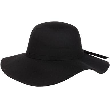 Black Wool Felt Wide Brim Floppy Hat  Amazon.co.uk  Clothing 8e15e5908bb