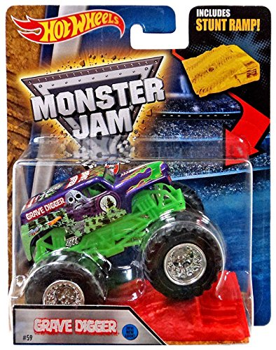Hot Wheels 2016 Monster Jam w/ Stunt Ramp #59 GRAVE DIGGER Purple New Look