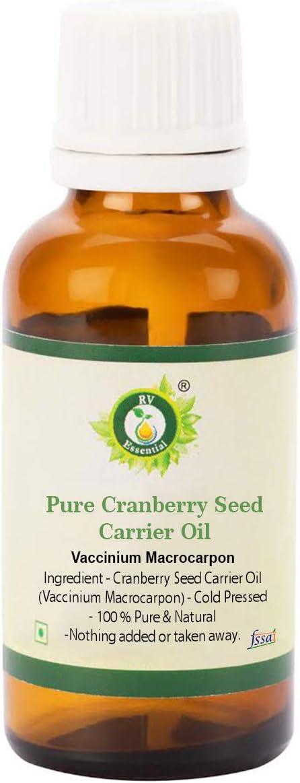R V Essential Aceite puro portador de semillas de arándano 30ml (1.01oz)- Vaccinium Macrocarpon (100% puro y natural Prensado en frío) Pure Cranberry Seed Carrier Oil