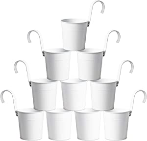 MorTime 10 Pack Metal Hanging Bucket Planter with Hook, 4 Inches Mini Round White Storage Basket for Plant Flower Pots Indoor Outdoor Home Garden Patio Lawn