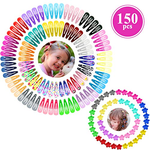 Girls Hair Clips, Funtopia 150 Pack Colorful Small Hair Clips for Baby Girls Toddlers Kids Teens, Including 100 Pcs Metal Snap Hair Clips Barrettes and 50 Pcs Cute Mini Flower Hair Claw Clips